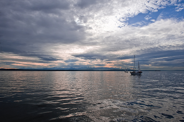 Seattle Photograph - Sunset Sail by Tom Dowd