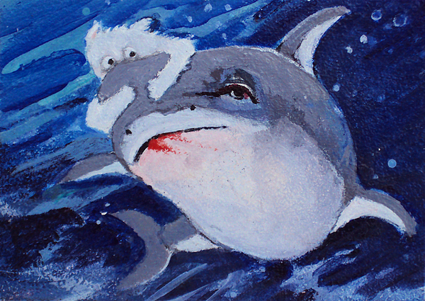 Shark Painting - Take A Ride On The Wild Side by Diane Ursin