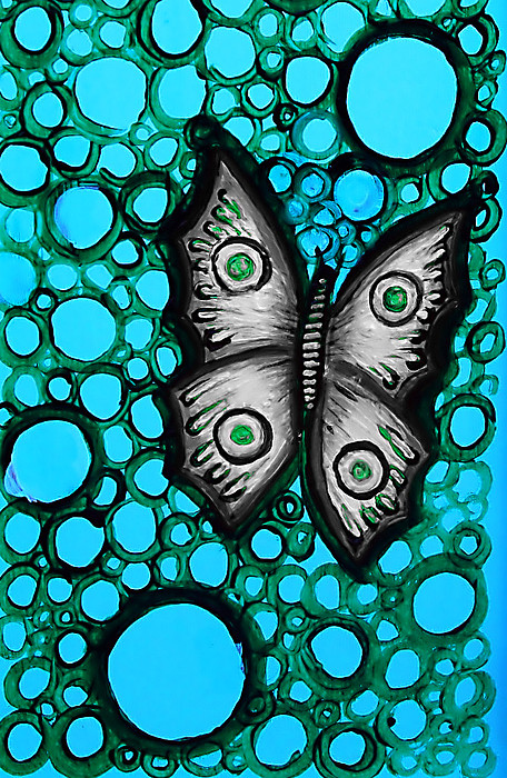 Teal Painting - Teal Butterfly by Brenda Higginson