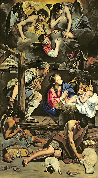 The Adoration Of The Shepherds Painting - The Adoration Of The Shepherds by Fray Juan Batista Maino or Mayno