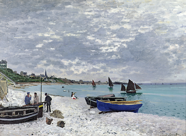 Coastal;french;rowing Boat;sailing;sainte Adresse; Boats Painting - The Beach At Sainte Adresse by Claude Monet