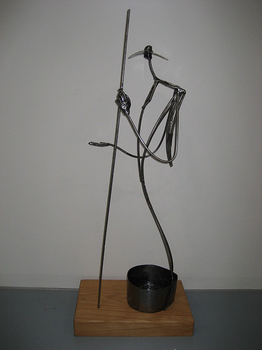Welded Sculpture Sculpture - The Beggar by Marshall Agbo