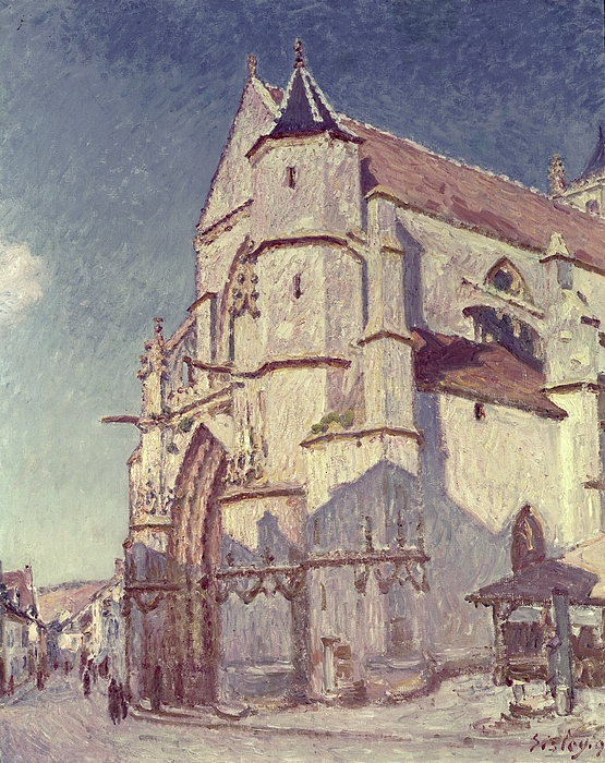 Sisley Painting - The Church At Moret by Alfred Sisley