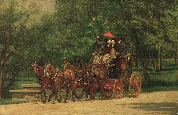 The Painting - The Fairman Rogers Coach And Four by Thomas Cowperthwait Eakins
