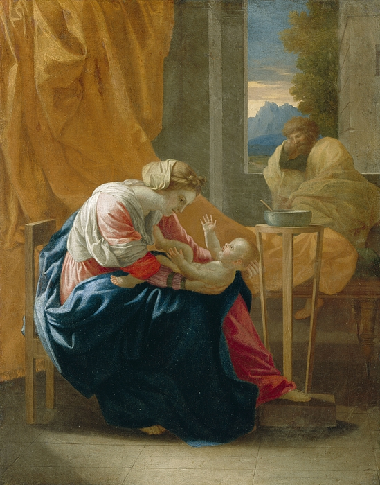 The Painting - The Holy Family by Nicolas Poussin