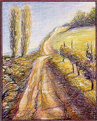 Landscape Drawing - The Road Which Touches The Sky by Dragan Jascur