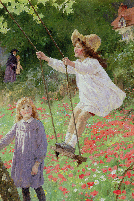 The Swing (oil On Board) Painting - The Swing by Percy Tarrant