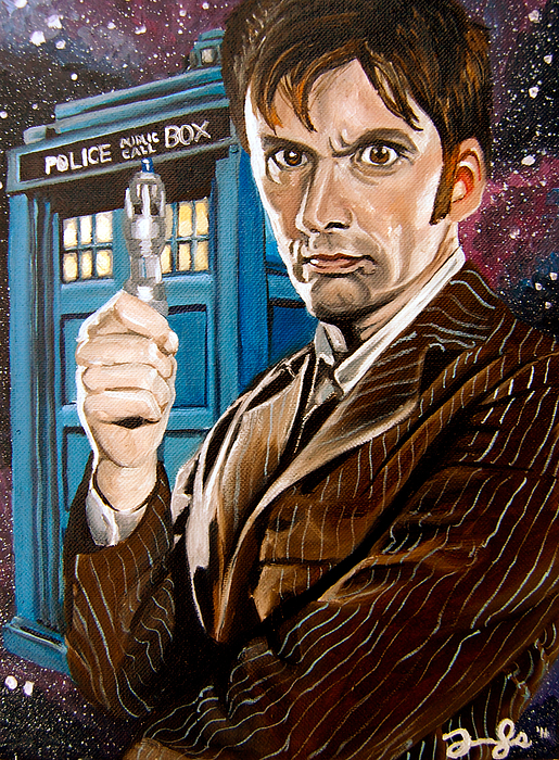 Doctor Who Painting - The Tenth Doctor And His Tardis by Emily Jones