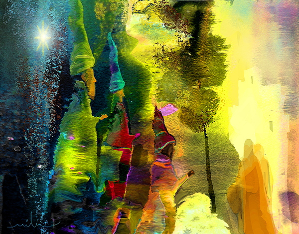 Fantasy Painting - The Three Kings by Miki De Goodaboom