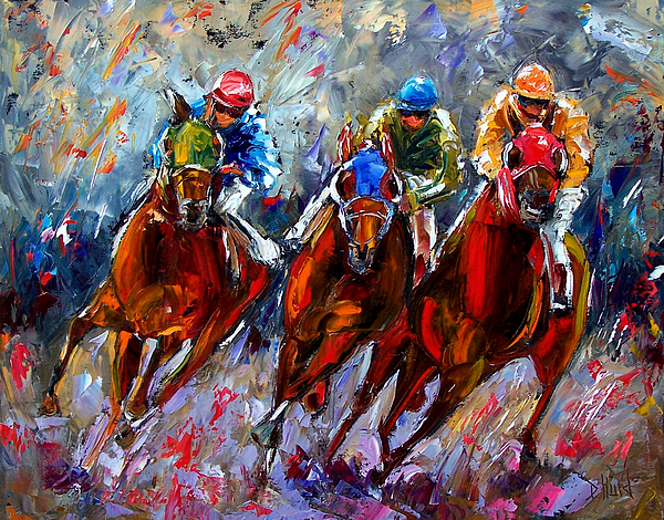 Horse Race Painting - The Turn by Debra Hurd
