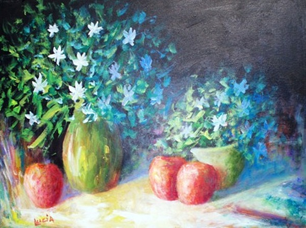 Floral Print - Three Apples by Carl Lucia