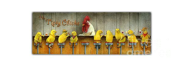 Tee Shirt Painting - Tipsy Chicks... by Will Bullas