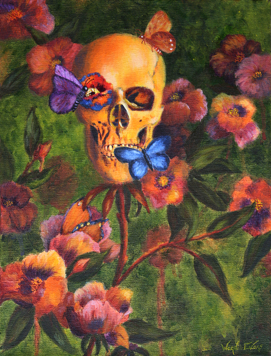 Skull Painting - Transformation by Wendi Curtis