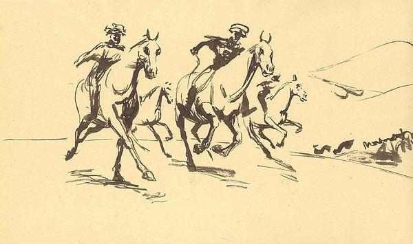 Horse Drawing - Turkman Horseman by Mehrdad Sedghi