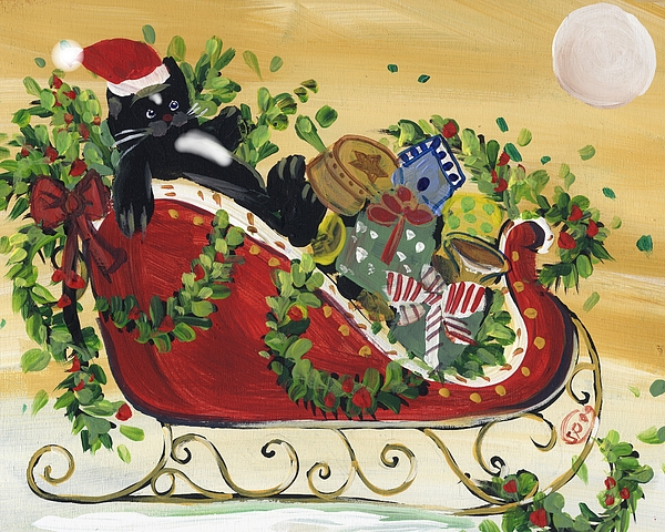 Sled Painting - Tuxedo Santa Claus  Cat by Sylvia Pimental