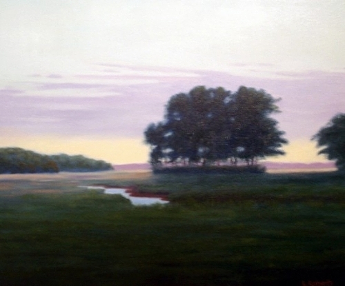 Landscape Painting - Twilight On The Marsh by Laura Roberts