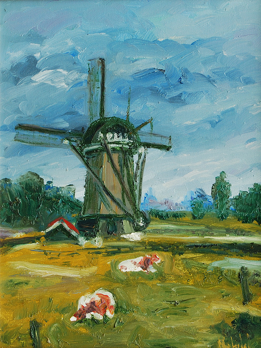 Farm Painting - Two Cows by Rick Nederlof