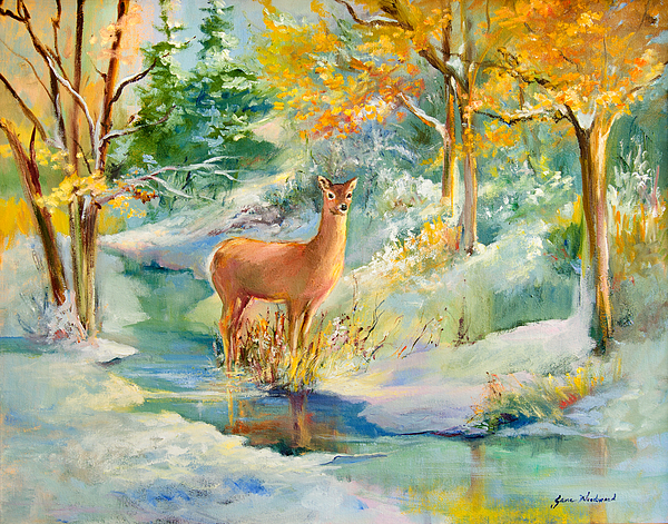 Deer Painting - Unexpected by Jane Woodward
