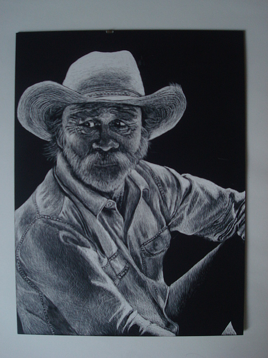 Cowboy Drawing - Untitled by Marcella Jackson