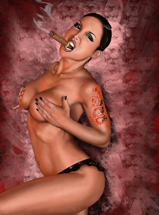 Pete Painting - Up In Smoke by Pete Tapang