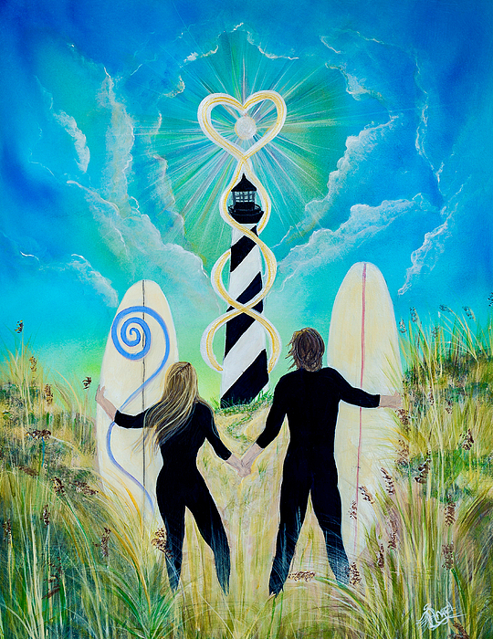 Lighthouse Painting - Uprising Of Love Hatteras by Angel Fritz