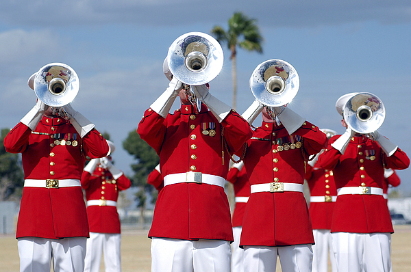 Drum And Bugle Corps Photograph - U.s. Marine Corps Drum And Bugle Corps by Stocktrek Images