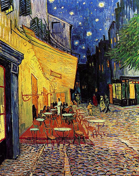 Van Gogh Painting - Van Gogh Cafe Terrace Place Du Forum At Night by Vincent Van Gogh