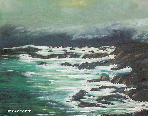 Waves Painting - Waves In The Cove by Allison Prior