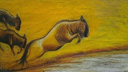 Oil Pastels Pastel - Wildebeest by Evans Yegon