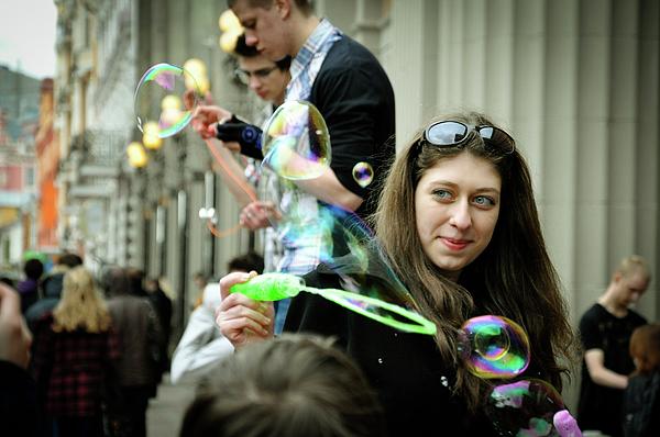 Bubbles Photograph - Woman And Bubbles by Muizz Halim