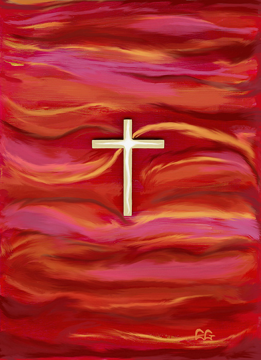 Red Paintings Painting - Wooden Cross by BlondeRoots Productions
