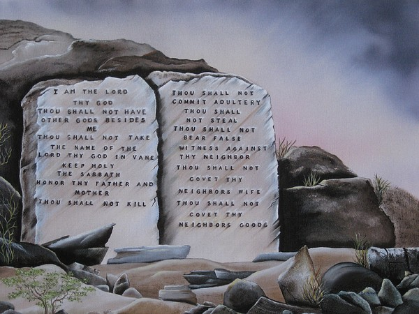 Religious Painting - 10 Commandments by RJ McNall