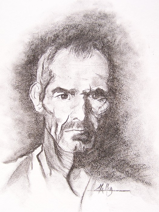 Portrait Drawing - No Title by Marek Halko