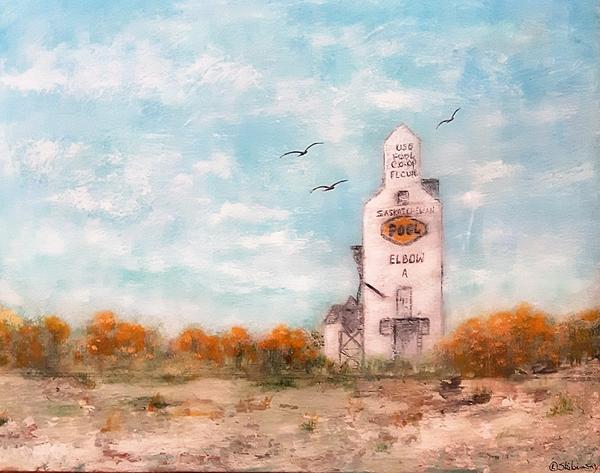 #1082 Saskatchewan Elevator Painting by Linda Skibinsky