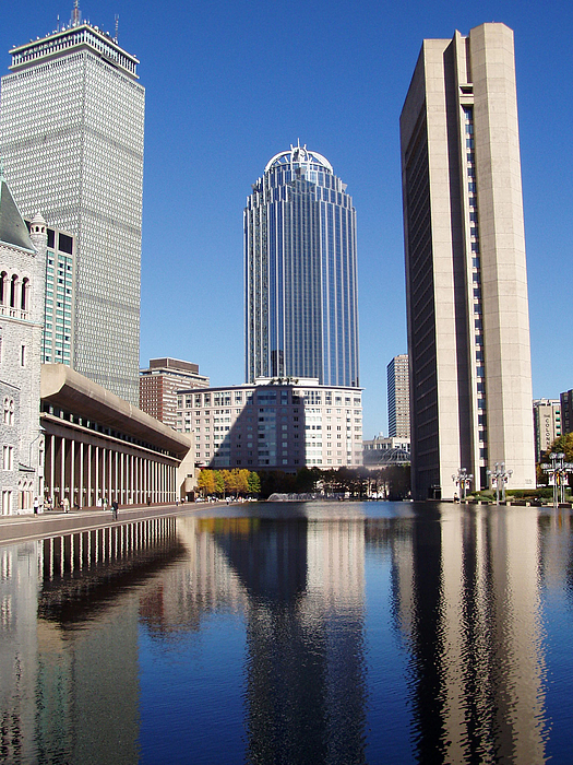 Boston Photograph - 111 Huntington Behind Reflecting Pool by Stacy McCarthy