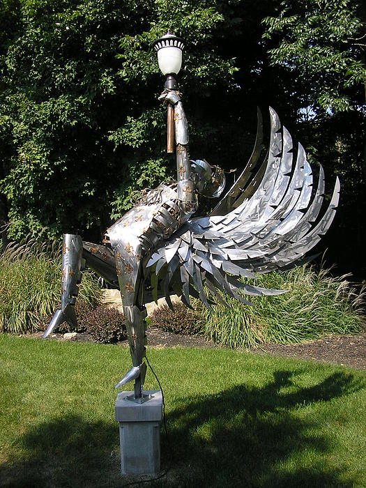 Angel Sculpture - 12ft.steel And Copper Angel Light by Todd Timler