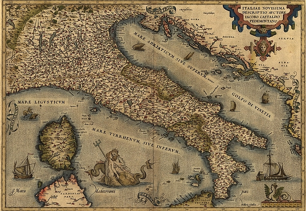 History Photograph - 1570 Map Of Italy  From Abraham by Everett