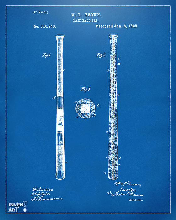 1885 baseball bat patent artwork blueprint digital art by nikki baseball digital art 1885 baseball bat patent artwork blueprint by nikki marie smith malvernweather Image collections