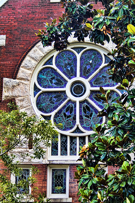 Uab Photograph - 1901 Antique Uab Gothic Stained Glass Window by Kathy Clark