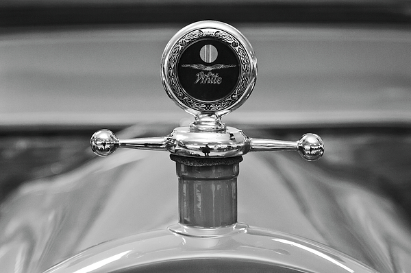 Black And White Photograph - 1913 White Gentlemanss Roadster Hood Ornament 2 by Jill Reger
