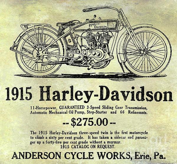 Harley Photograph - 1915 Harley Davidson Advertisement by Jon Neidert
