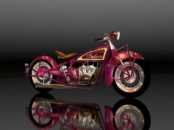 Indian Scout Digital Art - 1928 Indian Scout-red by Stephen Harlan