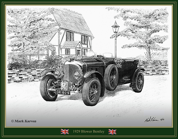 Automotive Drawing - 1929 Blower Bentley by Mark Karvon