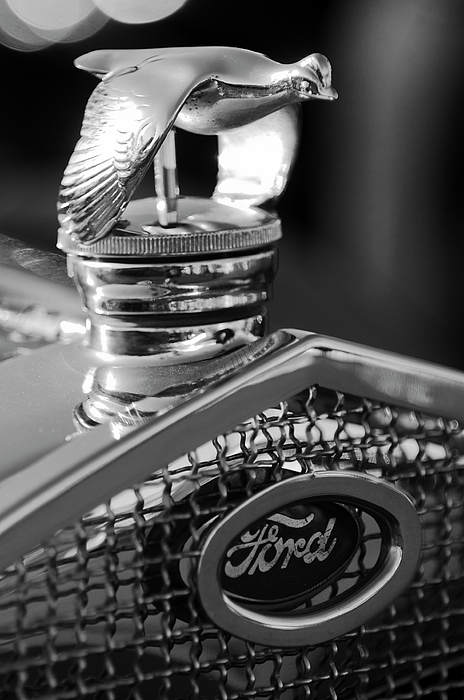 Black And White Photograph - 1930 Ford Quail Hood Ornament 3 by Jill Reger