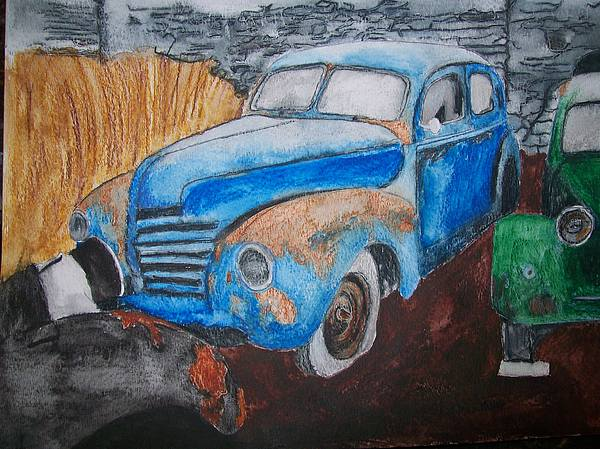 Salvage Painting - 1939 Mercury Sleeping Diamonds Original Watercolor By Pigatopia by Shannon Ivins