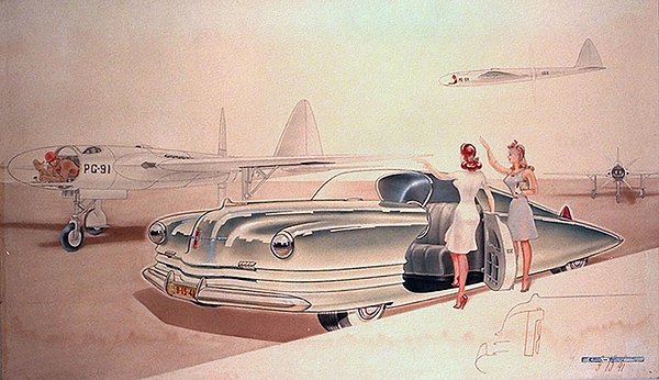 Car Concepts Painting - 1941 Chrysler Concept Styling Rendering Gil Spear by ArtFindsUSA