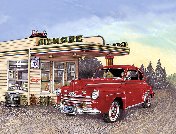 1946 Ford Deluxe Coupe Painting by Jack Pumphrey