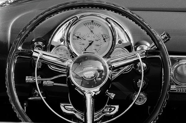 1950 Oldsmobile Rocket 88 Photograph - 1950 Oldsmobile Rocket 88 Steering Wheel 4 by Jill Reger