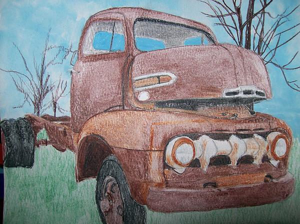 Ford Painting - 1951 Ford Cab Over Truck Original Watercolor Retired Life By Pigatopia by Shannon Ivins