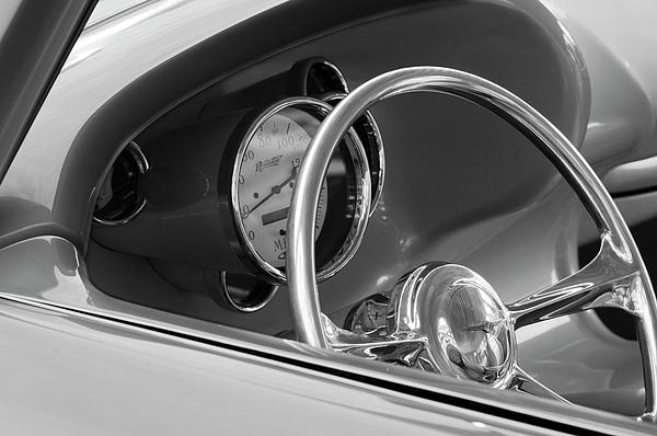 Steering Wheel Photograph - 1956 Chrysler Hot Rod Steering Wheel by Jill Reger